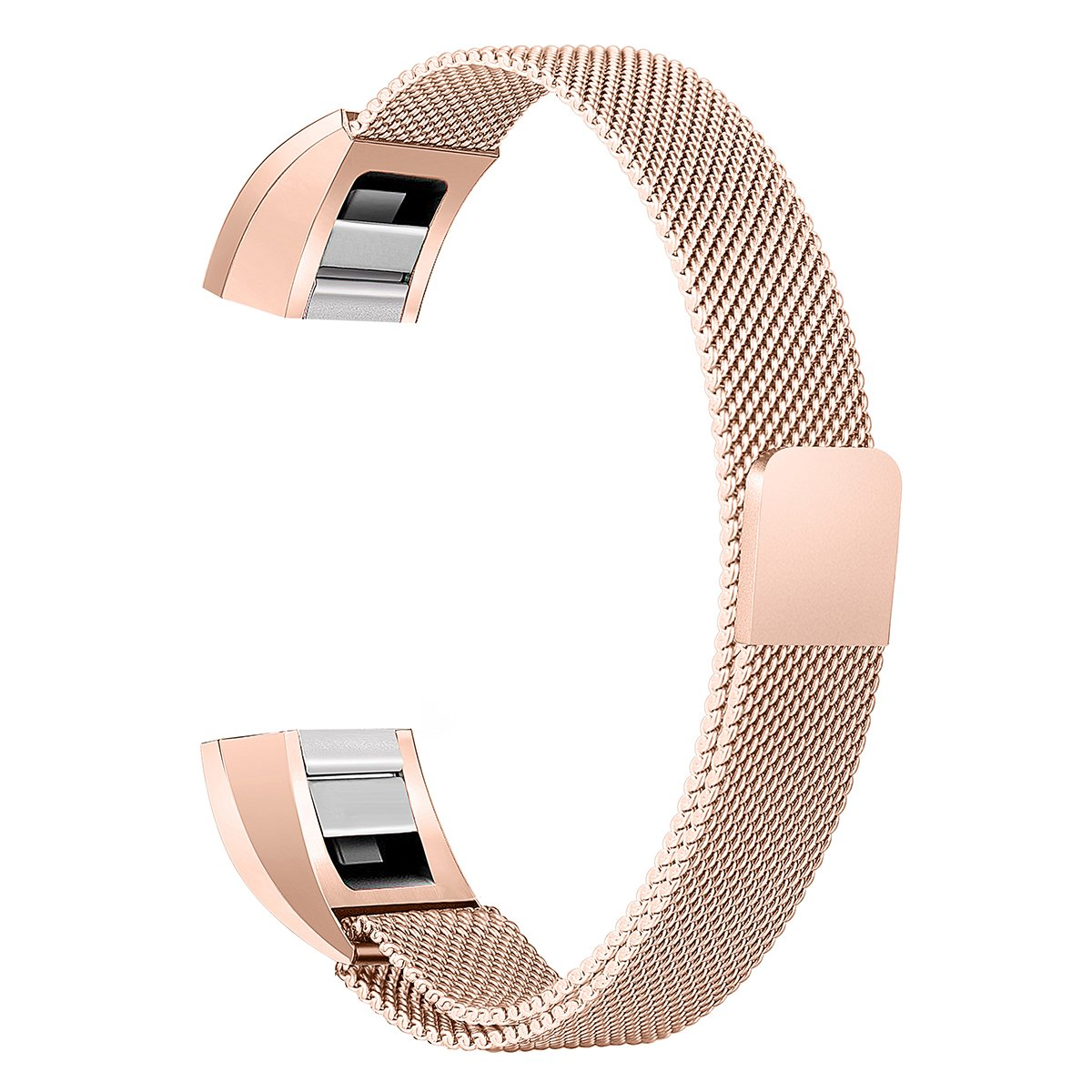 bayite For Fitbit Alta HR and Alta Bands, Replacement Milanese Loop Stainless Metal Mesh Bands Women Men Small Rose Gold