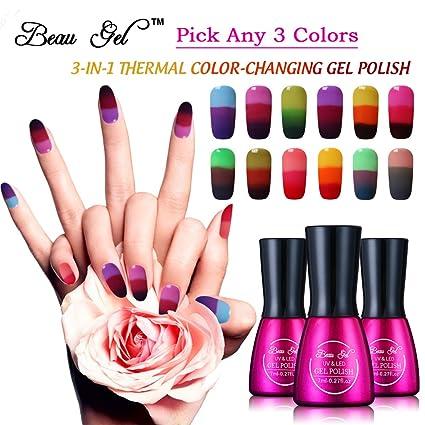 Beau Gel elegir cualquier 3 colores LED UV Soak Off Gel Polish Esmalte De Uñas Temperatura