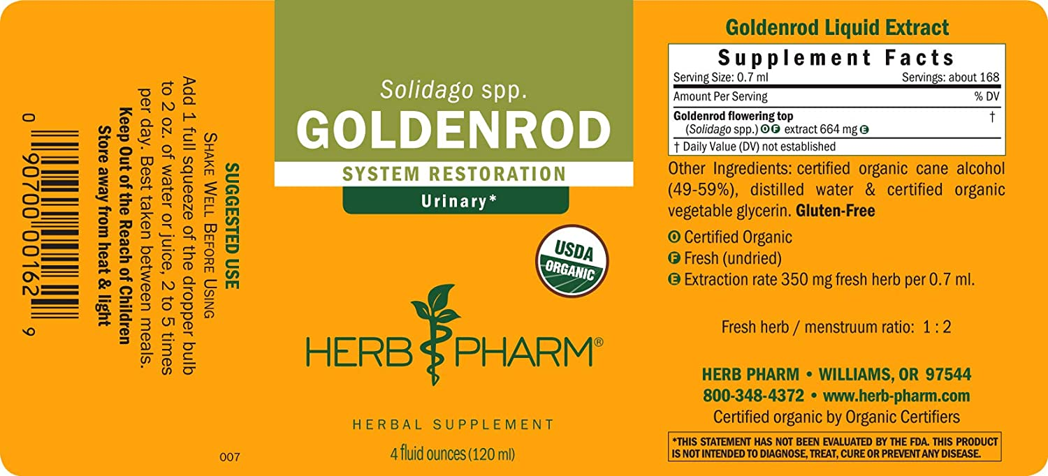 Herb Pharm Goldenrod Liquid Extract for Urinary System Support – 4 Ounce