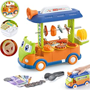ZMZS Kitchen Food Grill Cart Toddler Playset Toy 38PCS BBQ Truck with Sound and Light Simulated Interactive Pretend Cooking Play Set Gift for Kids 2 3 4 5 Year Old Girls Boys