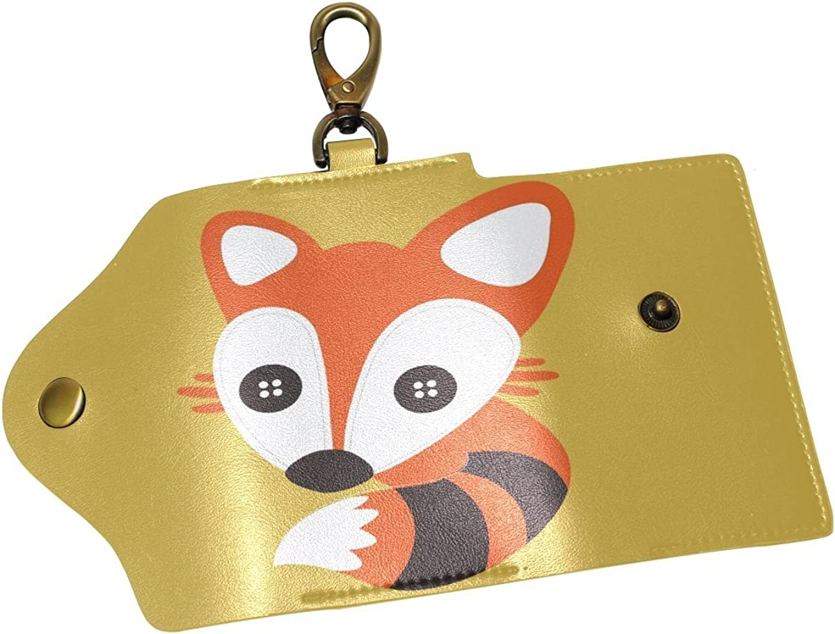 DEYYA Animal Fox Leather Key Case Wallets Unisex Keychain Key Holder with 6 Hooks Snap Closure