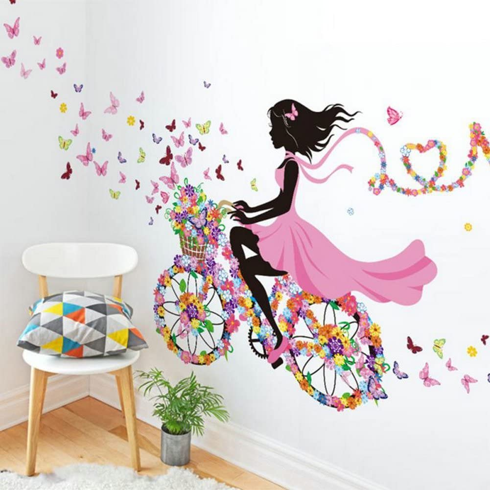 Sotijobs Nature Series SN049 Flower Butterfly Girl on Bicycle Removable Vinyl DIY Wall Art Mural Sticker Decal Decor for Living Room/Bedroom 28