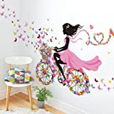 """Sotijobs Nature Series SN049 Flower Butterfly Girl on Bicycle Removable Vinyl DIY Wall Art Mural Sticker Decal Decor for Living Room/Bedroom 28""""H X 55""""W"""