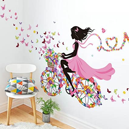 Sotijobs nature series sn049 flower butterfly girl on bicycle removable vinyl diy wall art mural sticker
