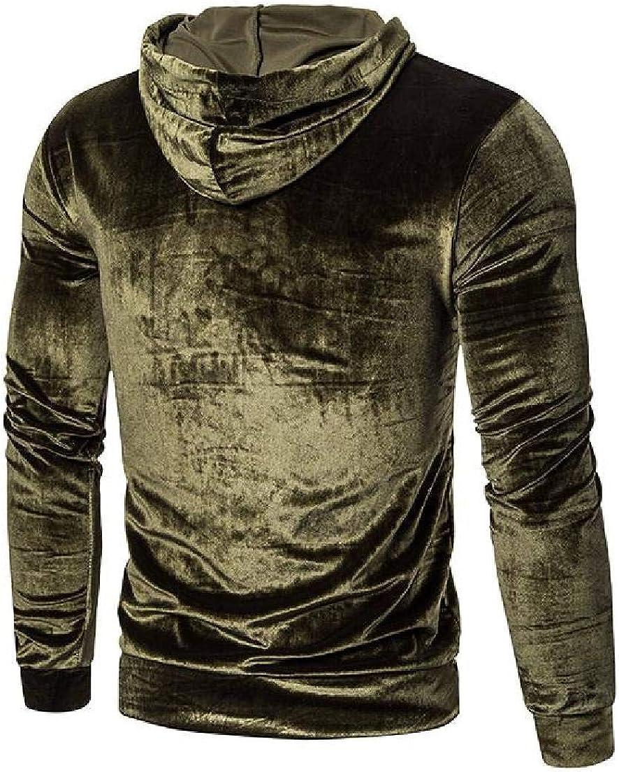Abeaicoc Men Pullover Slim Fit Velvet Sweatshirt Long Sleeve Hoodies Sweatshirt