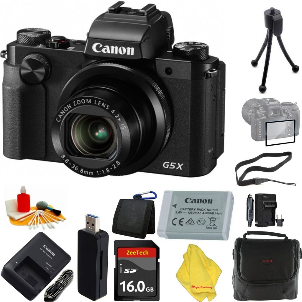 Canon PowerShot g5 Xデジタルカメラ、4.2 X光学ズーム、Wi - Fi、3インチLCD +ケース+ 16 GBカード+リーダー+ 6個スターターセット+ Extra充電器   B01LYOV7KN