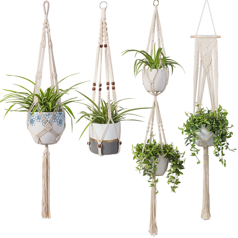 Modern Boho Home Decor 2 Tier Macrame Plant Hanger by TimeYard Handmade Double Indoor Hanging Planter Pot Holder 1 PCS Ceiling Hook