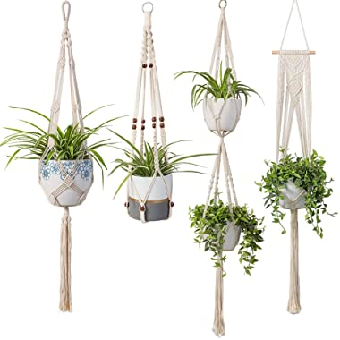 Macrame Plant Hangers - 4 Pack in Different Designs Handmade Indoor Wall Hanging Planter Plant Holder - Modern Boho Home Decor