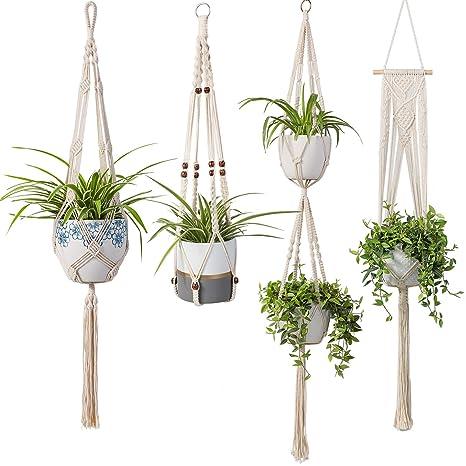 Macrame Plant Hanger Set Of 5 Indoor Wall Hanging Planter Basket Flower Pot Holder Boho Home Decor Pot Trays Home & Garden