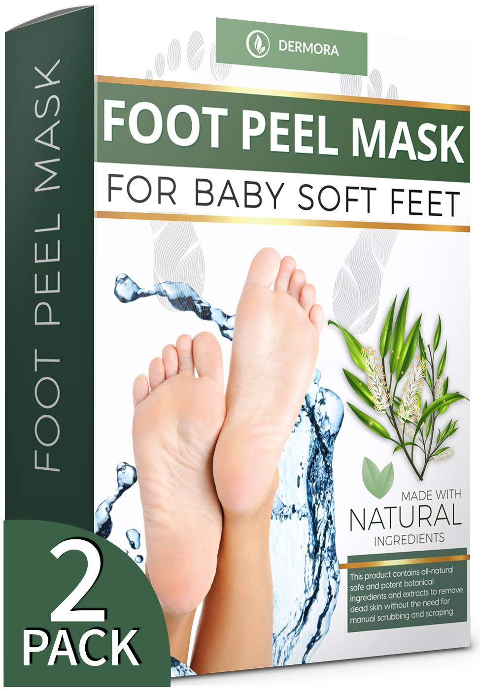 Tea Tree Foot Peel Mask - 2 Pack - For Cracked Heels, Dead Skin and Calluses - Make Your Feet Baby Soft Get Smooth Silky Skin - Removes Rough Heels Dry Skin - Natural Treatment