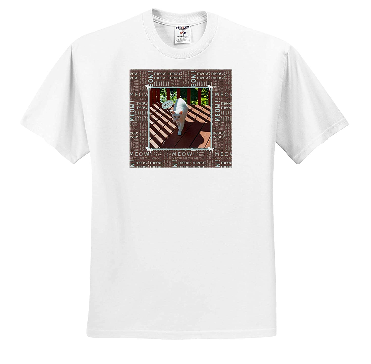 Brown White Cat Meowing While Walking T-Shirts 3dRose Beverly Turner Cat Photography Kitties on Corners Meow Frame