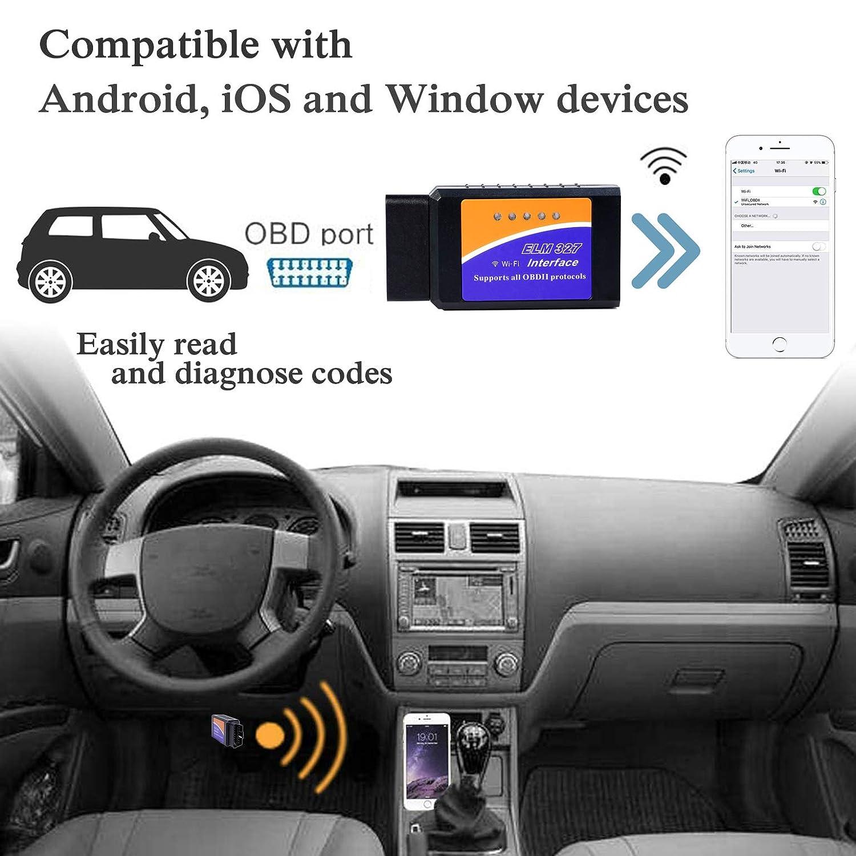 Symbian Compatible avec iOS Android Windows YOMER ELM327 Outils de Diagnostic de syst/ème de Moteur de Scanner OBD-II de Scanner de Lecteur de WiFi OBD2 Adaptateur dOBD2 WiFi