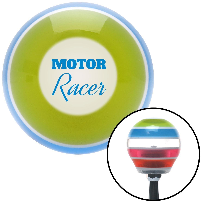 American Shifter 273433 Blue Motor Racer Stripe Shift Knob with M16 x 1.5 Insert