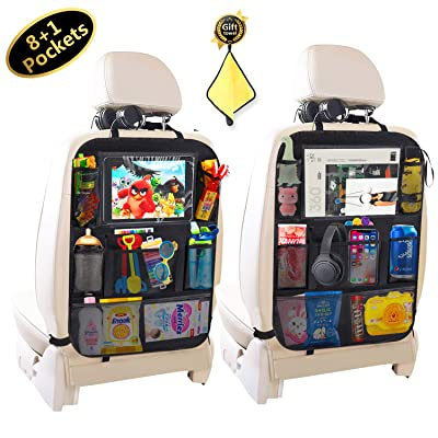 "Car BackSeat Organizer,10""Tablet Holder+9 Storage Pockets Kick Mat,Car Seat Back Protectors for Kids Drink Toy Diaper,Organizers for Van SUV,Car Accessories for Kids &Toddlers(2 Pack) (8+1 pockets): Automotive"