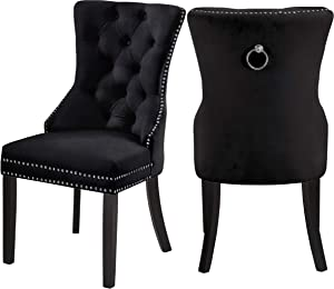 """Meridian Furniture Nikki Dining Chair with Wood Legs, Luxurious Button Tufting, and Chrome Nailhead Trim, 23"""" W x 23"""" D x 40"""" H, Black, Set of 2"""
