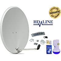 HD-LINE 1 Teilnehmer Set - Qualitäts-Alu-Sat-Anlage - Select 60/65cm Spiegel/Schüssel Anthrazit HD-LINE Single LNB - Satelliten-Komplettanlage - für 1 Receiver/TV [Neuste Technik - DVB-S/S2, Full HD, 4K/UHD, 3D]