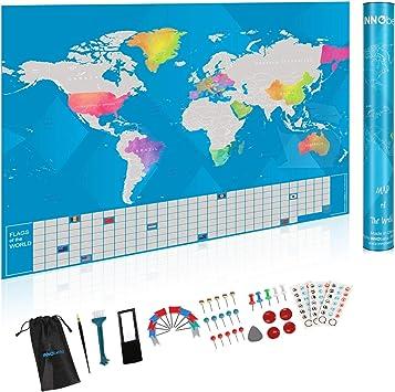 Innobeta Mapa Mundi Rascar, World Map Scratch, Mapa del Mundo para Marcar Viajes con Banderas en Inglés, Plateado - 41 X 61 cm: Amazon.es: Oficina y papelería