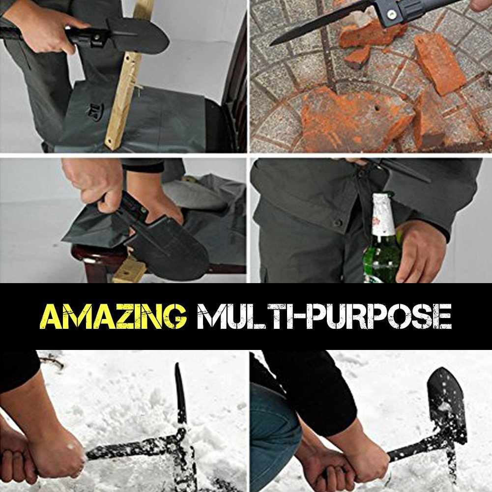 Foldable 4 in 1 Iron Shovel with Triangle Handle | Portable Garden Shovel with Carrying Pouch Included | Durable and Adjustable into Pickaxe Hoe Blade for Garden Military Survival Camping Hiking