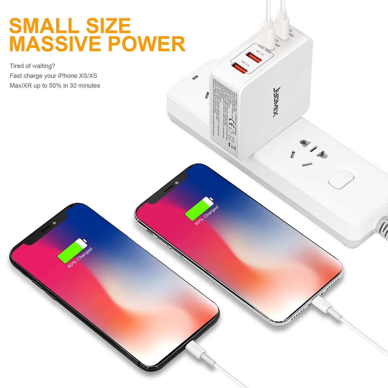 JYDMIX 3 Ports Portable USB C Charger avec USB-C Power Delivery Rapide USB QC3.0 et USB3.0 Adaptateur Secteur de Voyage avec Prise M/âle US//UK//EU//AU USB C Chargeur 65W