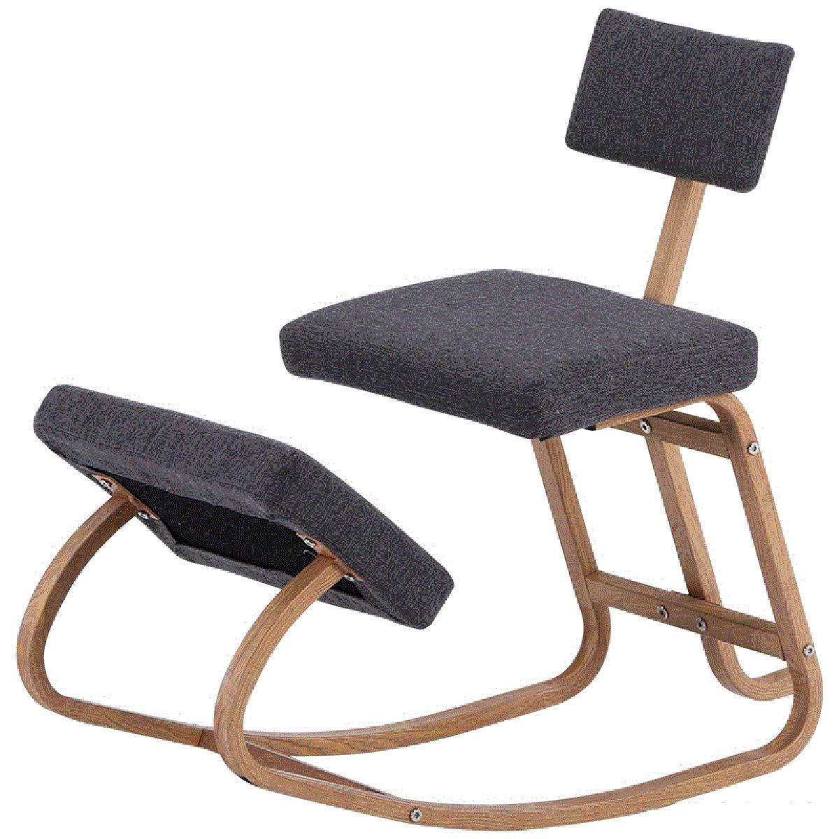 AYUSHOP Ergonomisk knästol justerbar pall för hem och kontor, kontor knästol med ett vinklat säte designad för att lindra rygg- och nacksmärta, tjocka bekväma kuddar, svart grå