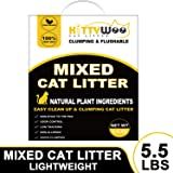 KITTYWOO Tofu Cat Litter, Natural Flushable Cat Litter Easy Clumping Kitty Litter Low Tracking Dust Free & Ultra Odor Control Cat Litter