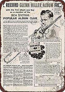 Retro Vintage Decor Metal Tin Sign 16x12Inch,RCA Victor Album Club Glenn Miller,Vintage Tin Bar Decor Metal Signage Office Decoration