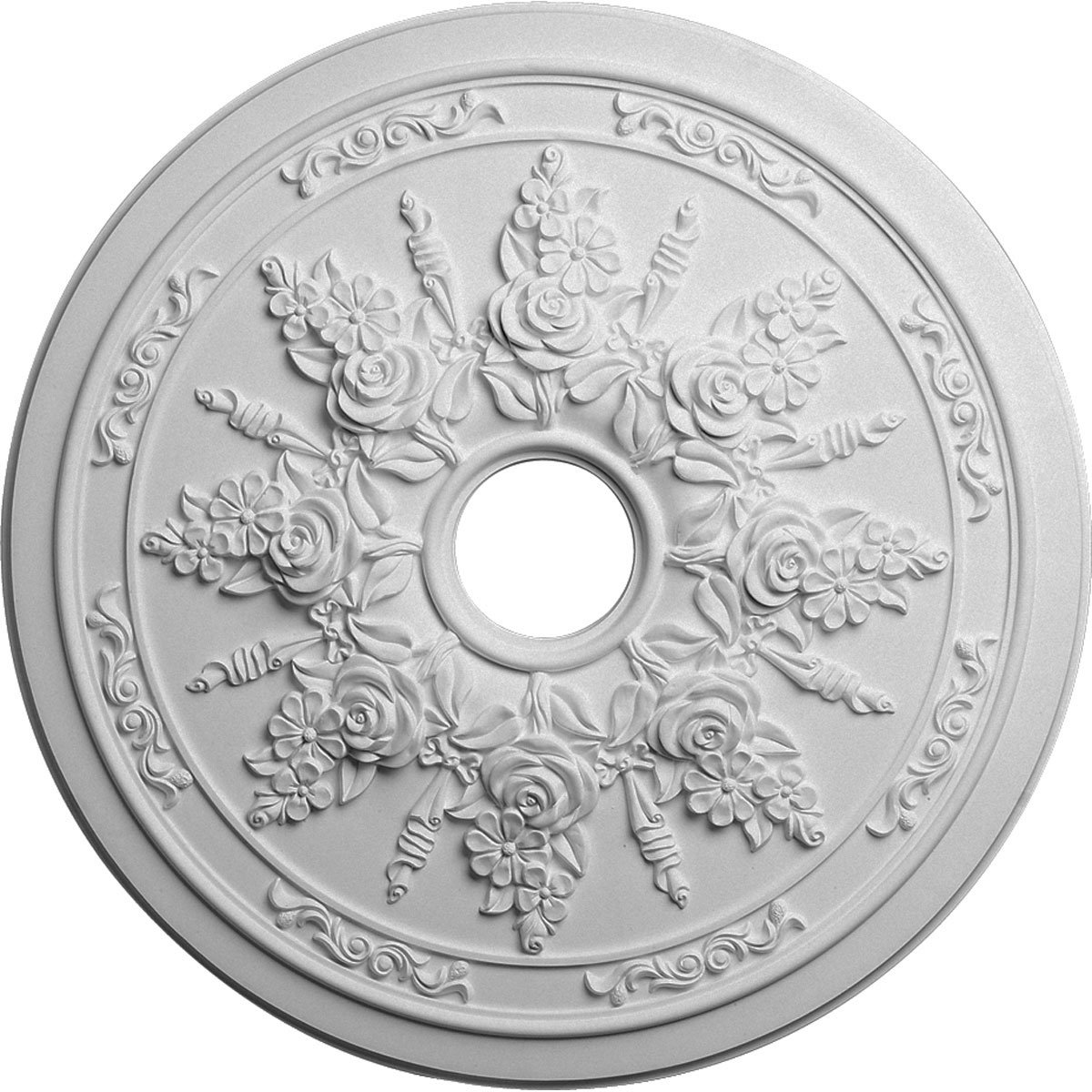 Ekena Millwork CM23RO 23 5/8-Inch OD x 4-Inch ID x 1 1/2-Inch P Rose and Ribbon Ceiling Medallion