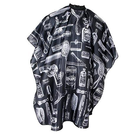 F Fityle Bata de Peluquería Profesional Antiarrugas Estampado Lavable Manta Capa para Corte de Cabello -