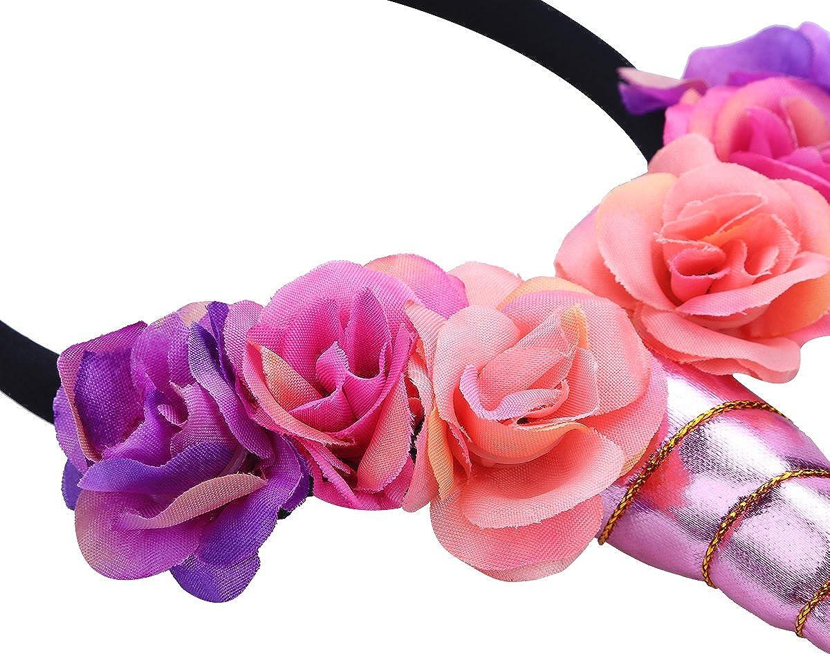 MSemis B/éb/é Serre-t/ête Licorne Floral Bandeau aux Oreilles Corne Accessoire D/éguisement pour Enfants Filles Couronne Costume de Carnaval Anniversaire F/ête