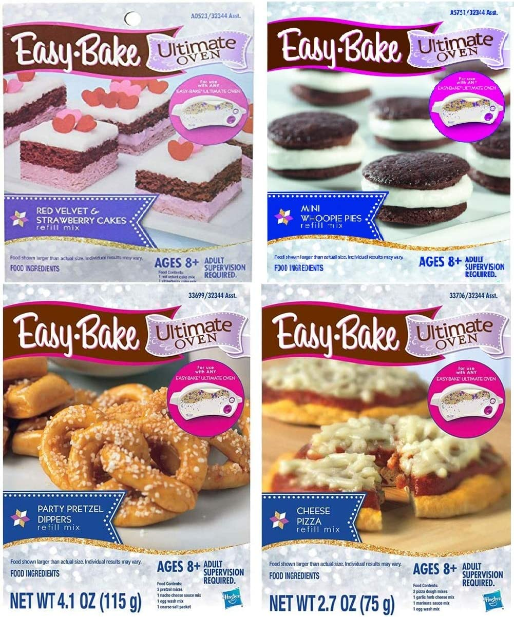 Easy Bake Mega Bundle Set of 4 Oven Mixes Refills (Pizza, Party Pretzel Dippers, Red Velvet & Strawberry Cakes, Mini Whoopie Pies)