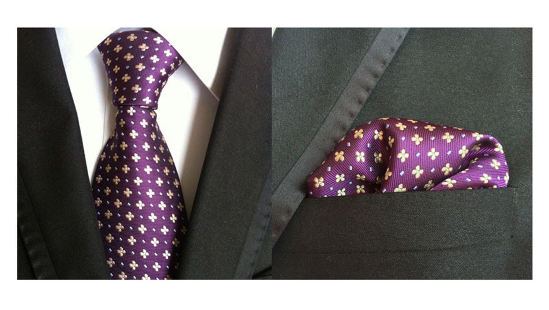 MENDENG Men's Purple Gold Floral Paisley Business Tie Silk Tie Hanky 2 Pcs Sets