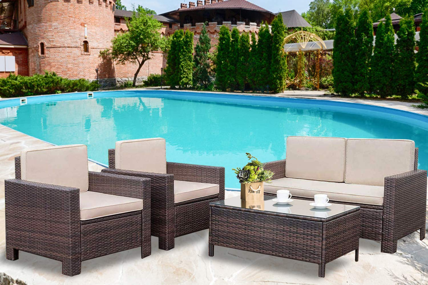 Patio Furniture Set 4 Pieces Outdoor Wicker Sofa Rattan Chair Garden Conversation Set Bistro Sets with Coffee Table for Porch Poolside Backyard by FDW