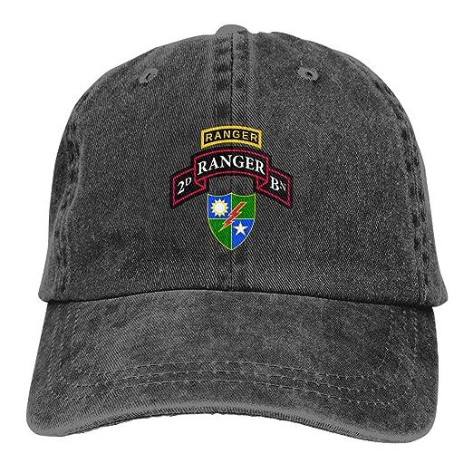 Sajfirlug Retro 75th Ranger Battalion Fashion Adjustable Cowboy Cap Denim Hat for Women and Men