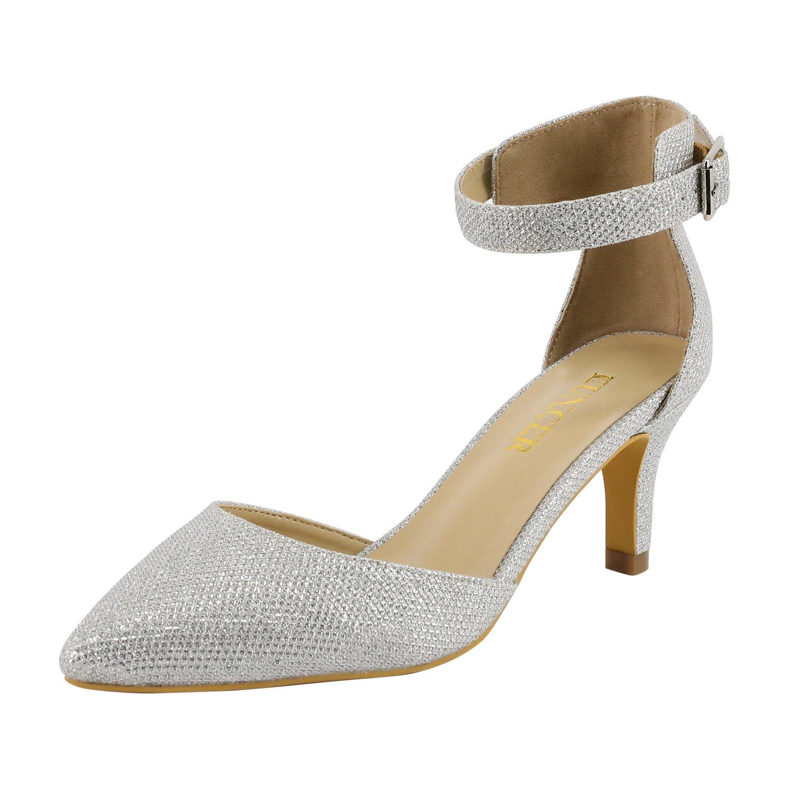 Eunicer Women's Ankle Strap Low Heel Stiletto Dress Pump Shoes Silver Glitter