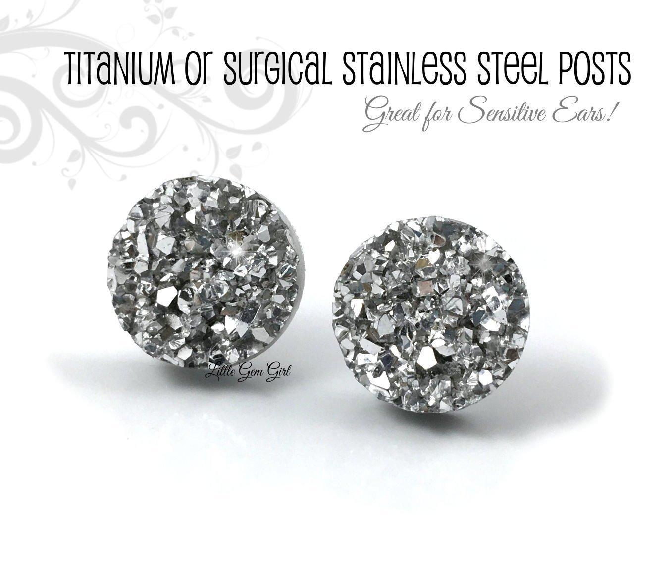 341d781fe ... Metallic Silver Druzy Earrings - 8mm, 10mm or 12mm w/Titanium or  Stainless Steel Posts Nickel Free for Sensitive Ears - Faux Silver Glitter  Druzy Studs