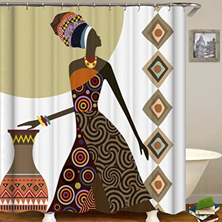 QCWN Afro Ethnic Decor Shower Curtain African Woman Tribal Life Graphic Print Waterproof Mildew Resistant Fabric