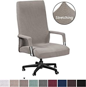 H.VERSAILTEX Office Chair Cover Extra Large Modern Simplism Style Chair Covers Spandex Jacquard Checked Pattern Office Computer Stretchable Rotating Chair Cover with Armrest Covers, Oversized, Taupe