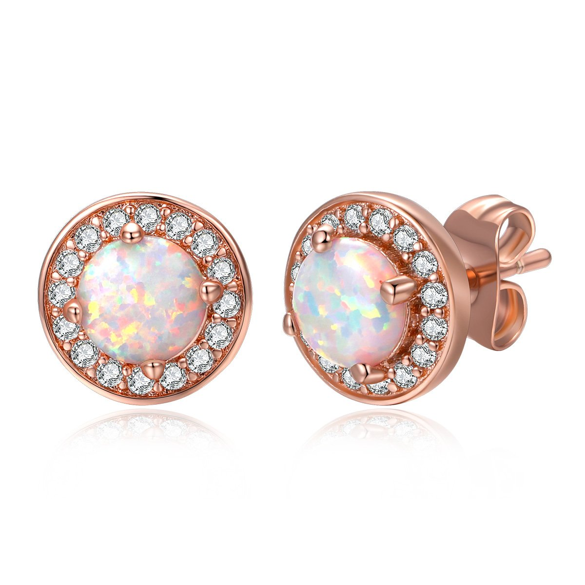 DwearBeauty White/Rose Gold Plated Stud Cubic Zirconia and Opal Earrings B0781NBV1V_US