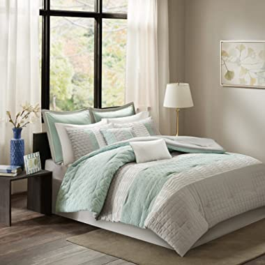 Madison Park Roslynn King Size Bed Comforter Set Bed in A Bag - Aqua, Striped – 8 Pieces Bedding Sets – Microcell Bedroom Comforters