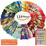 Embroidery Floss 125 Skeins Cross Stitch Thread Rainbow Color Multicolor DIY Floss with Needles