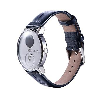 Gosuper De Luxe Cuir Watch Bracelet Stainless Steel Clasp Replacement Strap pour Nokia Steel/Nokia