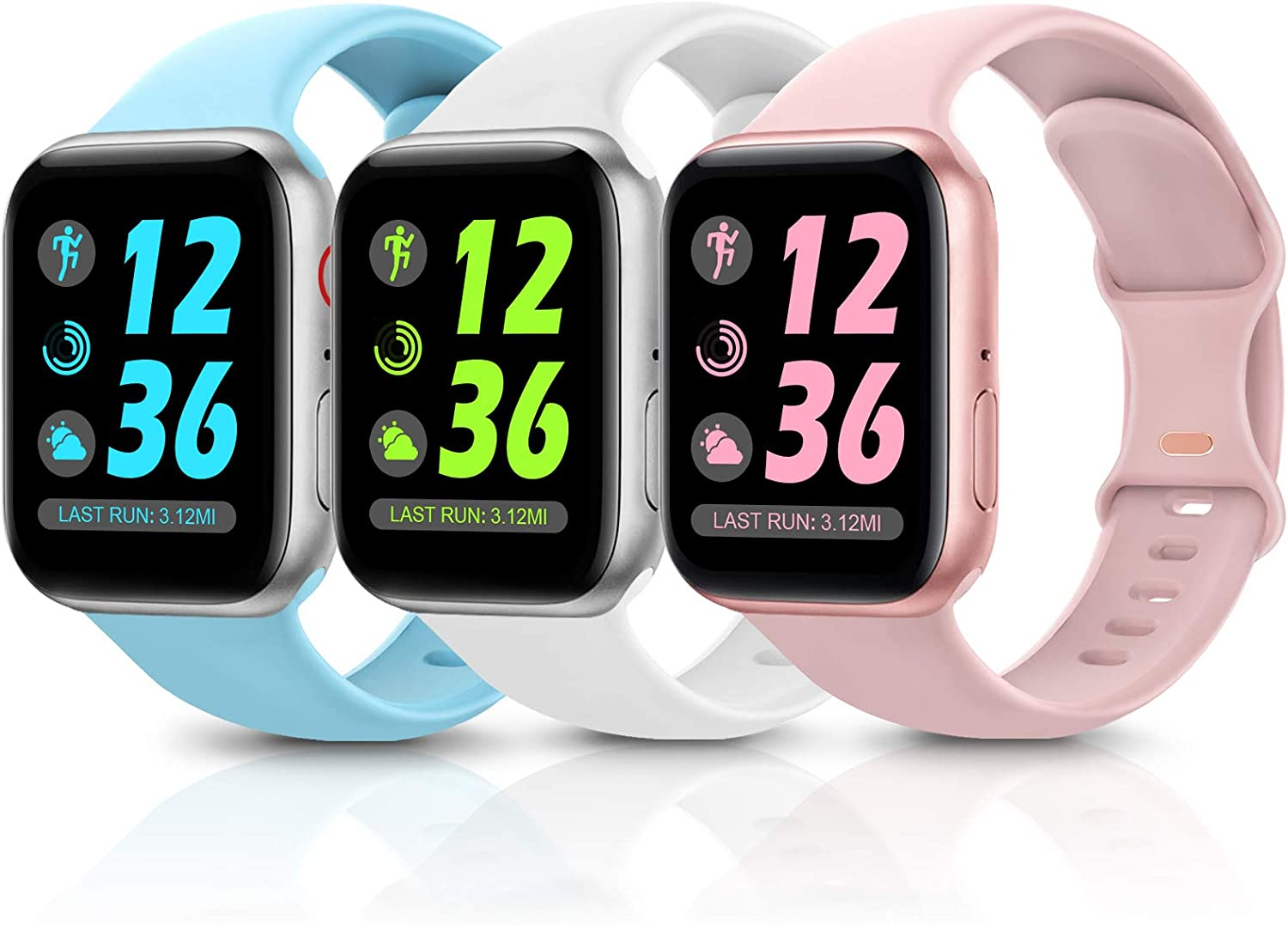 Sport Silicone Band Compatible with Apple Watch Bands 38mm 40mm 42mm 44mm,Soft Replacement Wristbands for iWatch Series 1/2/3/4/5/6/SE,Women Men,3 Pack(Sea Wave Blue/White/Pink,38mm/40mm-S/M)