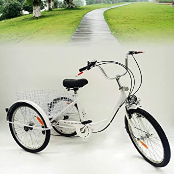 Yunrux Triciclo de 3 ruedas para adultos bicicleta con cesta de ...