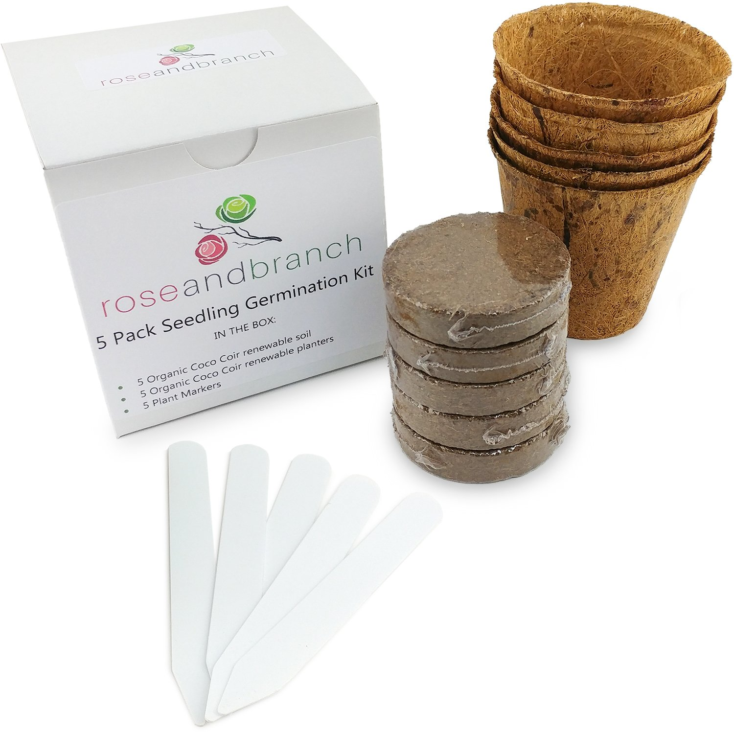 Organic – Seed and Plant Germination Starter kit. Includes Organic Soil, Organic planters and Plant Markers – 5 Pack