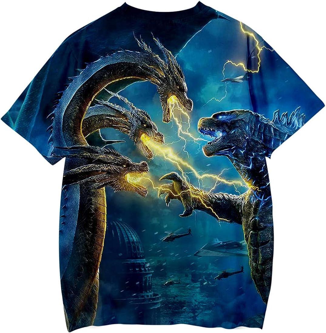 PANOZON 3D Stampa Figura di Film dei Mostri Gojira Godzilla Ragazzi T-Shirt Girocollo Sportivo Maglietta
