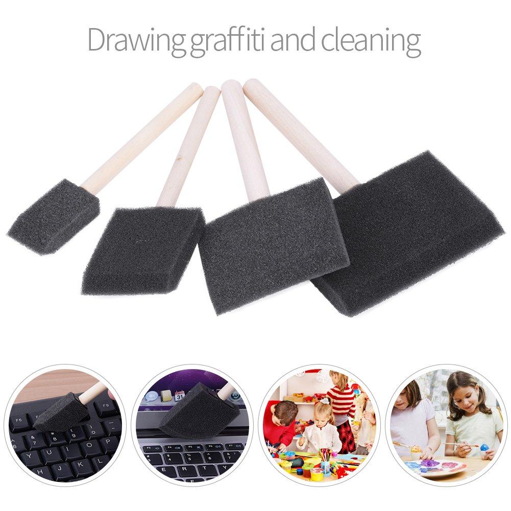 brosses de mousse avec la poign/ée en bois pour le nettoyage de peinture//graffiti//poussi/ère 4 pcs//ensemble brosse d/éponge