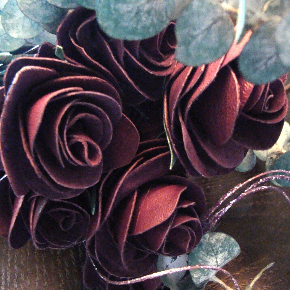 手作りレザーローズ 4色展開 赤、紫、黒、バックスキン。1本、3本、6本または1ダースでお求めいただけます。 パープル B072DY1YMS パープル 12