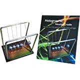 HOLOGRAPHIC NEWTONS CRADLE with Holographic Wooden Base - Stainless Steel Balls