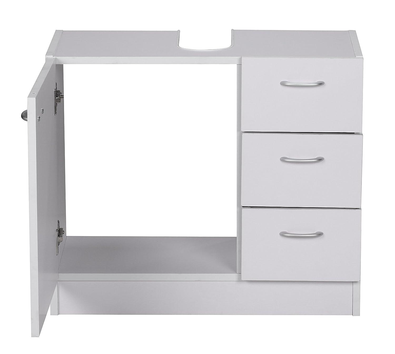 Bad unterschrank mit schubladen  Wohnling Waschbecken-Unterschrank, 54 x 63 x 30 cm mit 1 Tür und 3 ...
