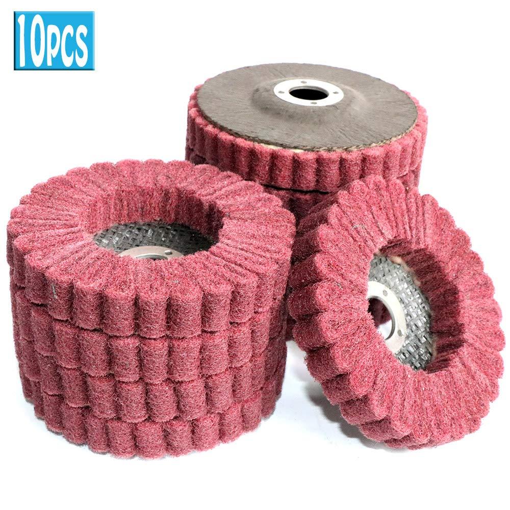 4 Inch Nylon Fiber Flap Polishing Wheel Metalworking Rotary Tools 120 Grit 5Pcs